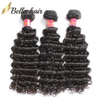 "Wholesale Brazilian Deep Wave Hair 5a - Remy Human Brazilian Hair Weave Extensions 5A Unprocessed 8""-30"" 3Pcs European Malaysian Indian Peruvian Virgin Natural Color Deep Wave Wavy"