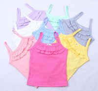 Wholesale Baby Girl Summer Tank Tops - summer children clothing girls little girl tank tops suspender tshirt Candy Color baby girl ruffle tank tops free shipping in stock