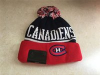 Wholesale Cuffed Spring Beanie Hat - 2017 New Montreal Canadiens Vintage Knitted Beanies In Blue Color Winter Warm Skull Hats Ice Hockey Vintage Pom Embroidery Cuff Beanie Caps