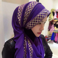 ingrosso sciarpa musulmana del hijab trasporto libero-Donne musulmane Hijab Foulard Sciarpe Ragazza Estate Musulmano Foulard Patchwork Musulmano Sciarpe Femminili Foulard Spedizione Gratuita