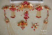coronas de strass chino al por mayor-Estilo chino de la boda nupcial tocados aretes conjunto Rhinestone antiguo de la vendimia diadema tiara corona moda concurso joyería accesorios para el cabello