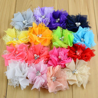 Wholesale Diy Chiffon Flowers Flat Back - 80pcs lot 3.54Inch For Baby Kids Hair Flower Rhinestone Center Flat Back Girls Lace Chiffon Flower DIY Headband Accessories