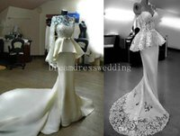 Kleid Weiß Saab Kaufen -2016 White Elie Saab Meerjungfrau Brautkleider mit langen Ärmeln bescheidenen Bateau Neck Peplum Lace Sheer Neck Custom Made Prom Formal Gowns