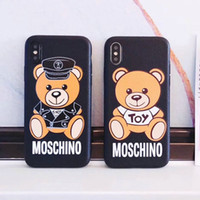 Wholesale Cartoon Silicone Iphone - High quality cartoon bear mobile phone shell case for iphone 6 6S 7 7 plus 6plus TPU silicone soft shell back cover for iphone 8 8plus X