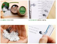120 pcs / Lot Mini Cartoon Metal Bookmarks encaixotado Clip de papel Page Holder Zakka material de escritório estacionário Material escolar