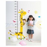 Wholesale Decorative Sticker Giraffe - giraffe height wall sticker for kids room ZooYoo831 decorative adesivo de parede removable pvc wall decal posters 3.5