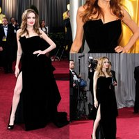 Wholesale Evening Dresses Angelina Jolie - Angelina Jolie Sexy Celebrity Prom Dreses Strapless Backless Side Split Plus Size Evening Gowns Winter Formal Occasion 116198