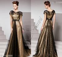vestido preto vestidos comprimento total venda por atacado-Deslumbrantes Ouro Preto Lantejoulas Tecido Barato Prom Dresses 2019 Longo Com Comprimento Total de Noite Vestido de Moda de Nova Chegada
