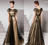 Wholesale Cheap White Chiffon Fabric - Stunning Gold Black Sequins Fabric Cheap Prom Dresses 2015 Long With Full Length Evening Gown Fashion New Arrival