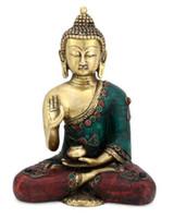 antikes gold buddha-statue großhandel-Vitarka Buddha Statue Messing handgeschnitzt tibetische antike Abhaya Buddhismus Dekor Kunst