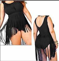 Wholesale Green Fringe Dress - Plus Size Fringe Swimwear Women 2015 Retro High Waist Fashion One Piece Swimsuit, New Summer Tassel Beach Dress, Sexy Bodysuit Biquini