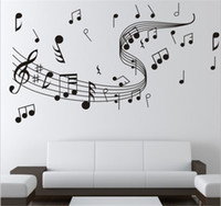 notas musicales de pegatinas para paredes. al por mayor-A estrenar 1 unids Diy Wallpaper Music Note pegatinas de pared para la decoración del arte creativo de la pared música tatuajes de pared Home dormitorio decoración