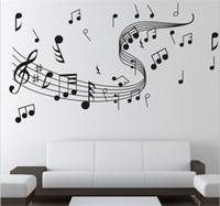 ingrosso note di musica di decorazione-Brand New 1pcs Fai da te Wallpaper Music Note Wall Stickers per Creative Wall Art Decoration Music Stickers murali casa arredamento camera da letto