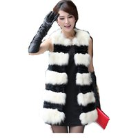 Wholesale Sheared Rabbit - Wholesale-Women's Real Leather fox fur vest with rabbit hair shearing Women's striped Outerwear Fur Coat jacket Female long real Fur