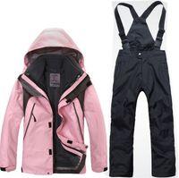 Wholesale Waterproof Jacket Girls - Wholesale-Kids Winter Jacket Boys Girls Clothes Hooded Warm Fleece Coat Ski Suit Warm Waterproof Set Tops Ski Wear Coat 7 Colors For 4-14T