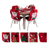 Wholesale couples chair - 2015 New Santa Claus Chair Covers Christmas Couple Cloth Dining Table Decorations Old man Bear Christmas Decoration Supplies 4 styles