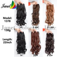 Wholesale Natural Hair Extensions Ponytail - 22inch(55cm) New Synthetic Long Lady Wowen Curly Wavy Clip Ponytail Pony Tail Hair Extension hairpiece Ribbon 6 colors 130g Free shipping