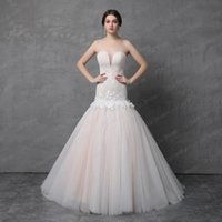 Wholesale Tulle Skirt Large - Dropped Waistline Tulle Lace Real Wedding Dress with Delicate Handmade Flower Light Champagne Large Volume Skirt