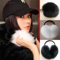 мягкая меховая обертка оптовых-Wholesale-Daisy & Na Super Soft Black/White Warmers Wrap Around Ear Women Faux Fur New Earmuffs 012