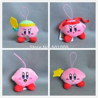 "Wholesale Push Keychain - Free Shipping Cute 4pcs Star KIRBY New Kirby Plush Doll Stuffed Toy Keychain 2.5"""