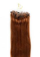 auburn micro loop extensiones de cabello al por mayor-7a Venta al por mayor - 0.8g / s 200S / lot 14