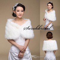 Wholesale Long Shrugs - New White Pearl Bridal Wrap Shawl Coat Jackets Boleros Shrugs Regular Faux Fur Stole Capes For Wedding Party 17004 Free Shipping