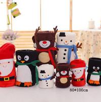 Wholesale Penguin Christmas - Soft Flannel Merry Christmas Blanket 100*80cm Portable Nap Blanket Child Gift Santa Claus Snowman Elk Penguin Blankets 100pcs OOA3359