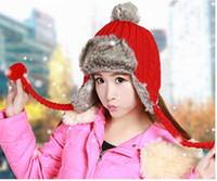 Wholesale earflap beanie women - Wholesale-Winter Warm Earflap Beanie Hat Wool Fleece Trooper Trapper Pilot Snowboard Faux Fur Solid Ball Knitted Bomber Hat Cap For Women