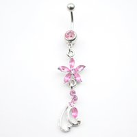 Wholesale 14k Pink Diamond - D0137-3 Nice style Navel belly ring 10 pcs PINK color piercing body jewelry stone drop shipping
