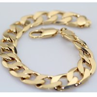 Accessori Trend 24K Yellow Gold Filled GF solido bracciale catena a maglia barbazzale 9inches 10mm nuovo arrivo