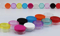 kostenlose musterpakete großhandel-Kostenloser Versand - 100 x 3g buntes Sahneglas, Kosmetikbehälter, Plastikflasche, Make-up-Probenglas, Kosmetikverpackung