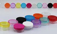 échantillons de maquillage livraison gratuite achat en gros de-Livraison gratuite - pot de crème colorée 100 x 3g, contenant pour produits cosmétiques, bouteille en plastique, pot pour échantillons de maquillage, emballage pour produits cosmétiques