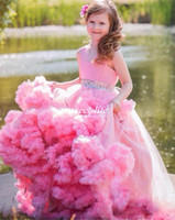 Wholesale Little Girls Beautiful Cheap Dresses - Beautiful Pink Wedding Flower Girl Dresses Ball Gown Handmade Flowers Beaded Tulle Cheap 2016 Custom Made Little Baby Girls Pageant Dresses