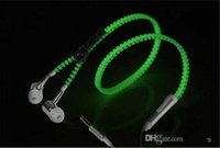 Wholesale zipper headphones sale for sale - Group buy Universal use LED Earphone zipper shape Headset In Ear LED Flashing Stereo Headphone Shiny hot sale flash glow earset