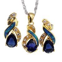 18k gelbgold saphir halskette großhandel-Gelbes Gold überzogene Schmucksache-Sätze natürlicher Opal-wirklicher blauer Saphir 8 Entwurfs-Anhänger-Halsketten-Ohrring-Weihnachtsgeschenke OPJS4