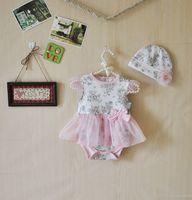 Wholesale Girls Plain Cotton Dresses - 2015 Newborn Tutu Romper Dress & hat Toddler floral Tutu Rompers Plain tutu Jumpsuits baby Romper Dress