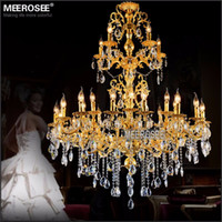 Wholesale Luxurious Lamp - Luxurious Gold Large Crystal Chandelier Lamp Crystal Lustre Light Fixture 3 tiers 29 Arms Hotel Lamp MD3034 D1200mm H1450mm
