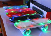 Wholesale Mini Speaker Mp4 - New Bluetooth Wireless Skateboard scooter Speaker with Led Light Mini TF U Disk FM MP3 MP4 Bluetooth Hifi Music Pulse Speaker Christmas gift