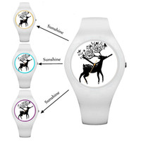 Wholesale Quartz Test - Factory Supply Women Watches Magic UV Test Watches Under Ultraviolet Discoloration Watches White Black Rubber Deer Dial Watch Free Shipping