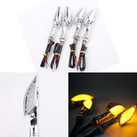 4 X 12LED Universal Moto Tournez signal lumineux moto Skull Indicateur Lampe Orange Lens Clear LED Strobe Light K2749