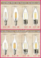 Wholesale Candel Led Light E14 - LED Filament Bulb lampada LED 85-265V bombillas LED Edison COB Bulb E27 E14 E12 C35 Candel Light 2W 4W 6W 360 Degree 120LM W Warm White