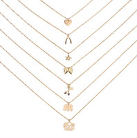 Wholesale Good Luck Elephant - Dogeared Necklace Good Luck Elephant Pendant Multi-layer Necklace Combination Set Noble and Delicate Choker Collarbone Chain Fashion Style