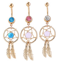 Wholesale white dream catchers resale online - D0008 colors Dream Catcher Dangle Mix colors Belly Rings Navel naval drop shipping