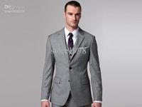Wholesale Light Grey Suit Purple Tie - Wholesale - Wholesale - Side Slit Groom Tuxedos Light Grey Groomsman Men Wedding Suits(Jacket+Pants+Tie+Waistcoat)M68