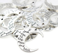 Wholesale Antique Silver I love You To The Moon And Back Moon Charms Pendant x30mm