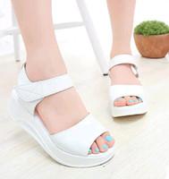 Wholesale Platform Swing Sandal - 2015 Brand Summer Women Open Toe High Heel Sandals Fashion Roman Shoes Female Swing Shoes Ladies Wedge Platform Sandals #610