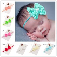 Wholesale Rosette Bows - 11 pcs Shabby Rosette Bows Baby Hair Bows Baby Girls Bows Photo Prop Casual Hair Headband Baptism Gift Baby Girls Fancy Headwear