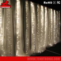 cortina lampara de agua al por mayor-3 * 3m 300leds Chirstmas Luz de cortina Lámpara de luz de centelleo cascada Casos de flujo de agua de BODA DE NAVIDAD W6xH3M 600lamps Luces de fondo de cortina