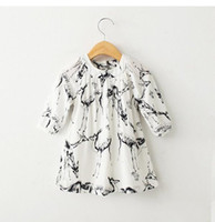 Wholesale Cute Designer Clothes - 2016 European designer fashion brand baby girls dress with deer print cute clothing for baby girls for spring