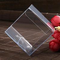 limpar caixas de pvc para doces venda por atacado-100 pçs / lote 4x4x4 CM PVC Limpar Pacote de Caixa Quadrada Recipientes De Plástico Caixa de Presente de Jóias Doces Toalha Caixa de Bolo Frete Grátis